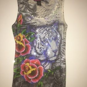 White Tiger sequin tank Top